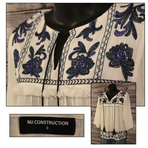 Embroidered w Tie Pheasant Top by Nu Construction